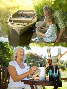 Woman painting and man with grandson fishing